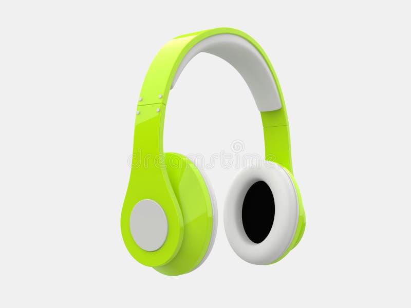 Fones de ouvido sem fio modernos verde-claro ilustração stock