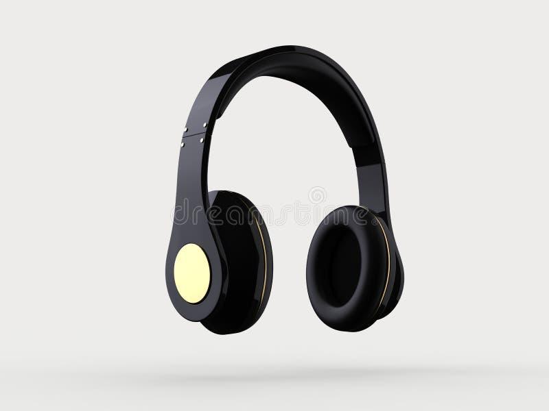 Fones de ouvido sem fio pretos novos brilhantes com detalhes do ouro ilustração royalty free