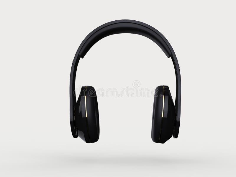 Fones de ouvido sem fio pretos novos brilhantes com detalhes do ouro - vista dianteira ilustração stock