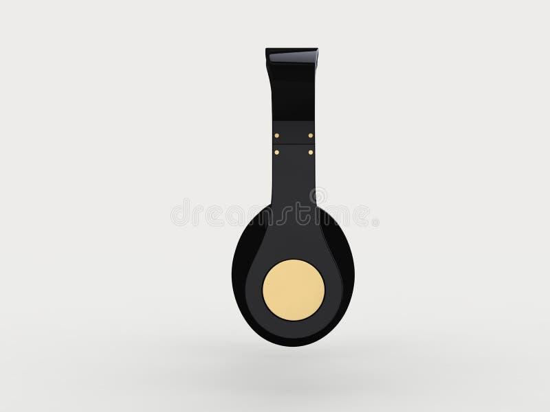 Fones de ouvido sem fio pretos novos brilhantes com detalhes do ouro - vista lateral ilustração stock