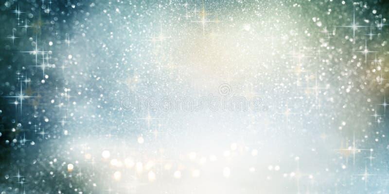 Fonkelende bokeh achtergrond met Kerstmissterren stock illustratie