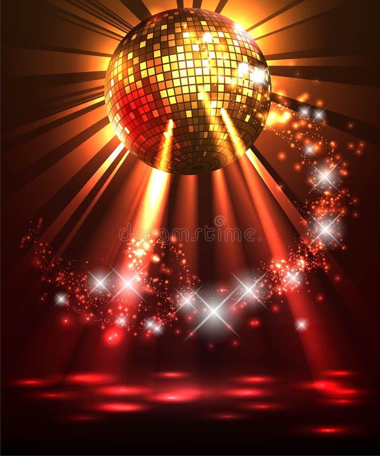 Fonkelende discobal Een ontwerpmalplaatje, uitnodigingskaarten, kaartje, banner, sticker, affiche royalty-vrije illustratie