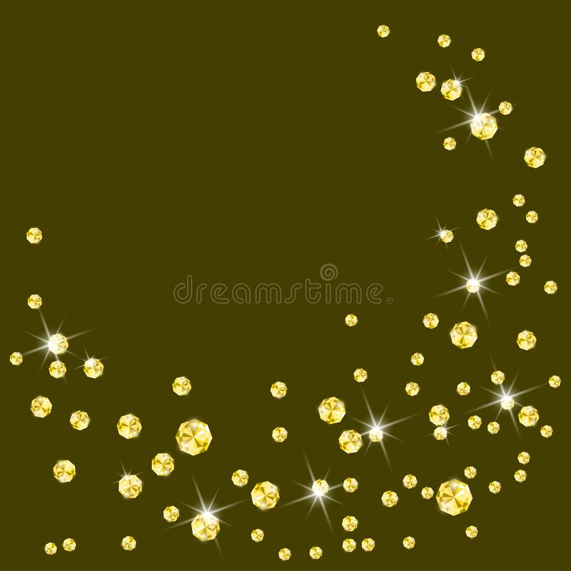 Fonkelende gele diamanten op donkere achtergrond stock illustratie