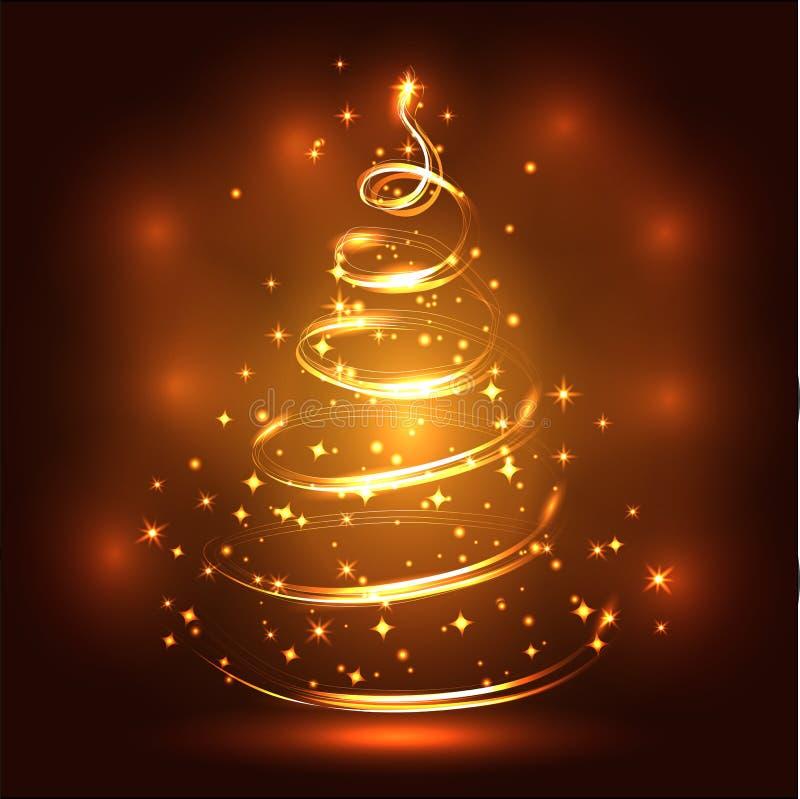Fonkelende, heldere, Nieuwjaar of Kerstmisachtergrond met een gloeiende Kerstboom, sterren, sneeuwvlokken, gevolgen Gelukkige Ker stock illustratie