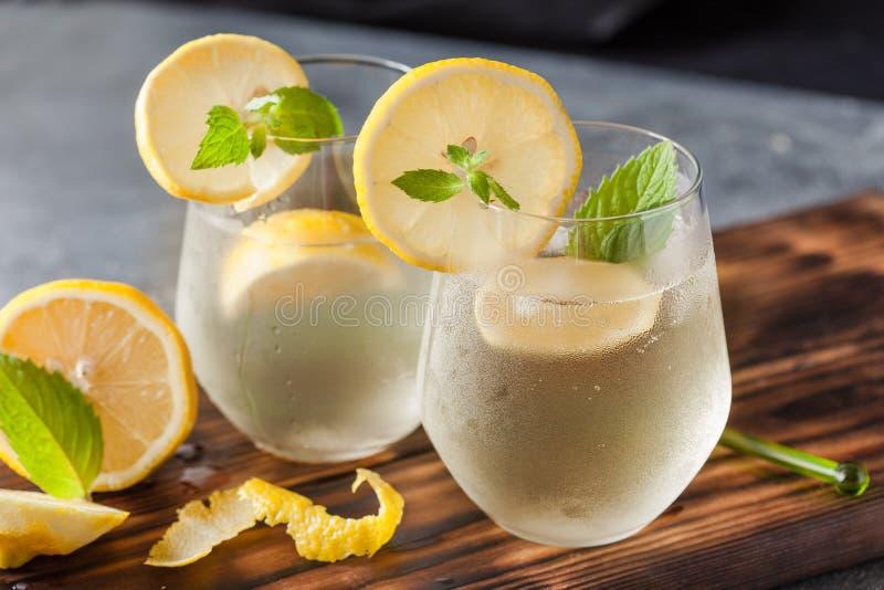 Fonkelende limonade met citroen en munt royalty-vrije stock foto