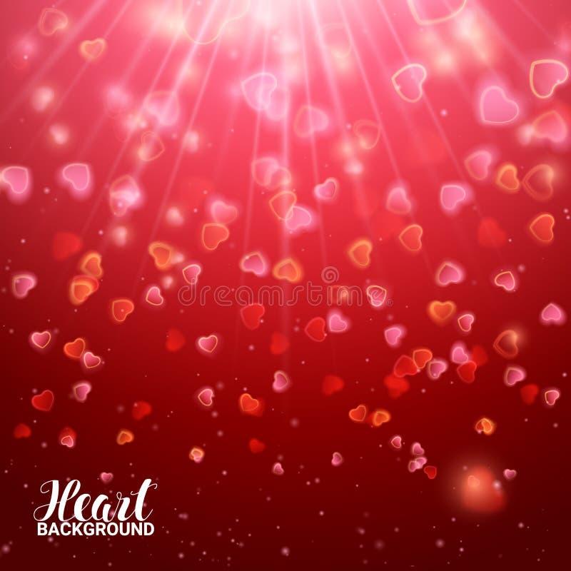 Fonkelings Helder rood Hart De lichte Dag van Groetvalentine ` s Glanzende explosie De Grensconfettien van het flikkeringskader V royalty-vrije illustratie