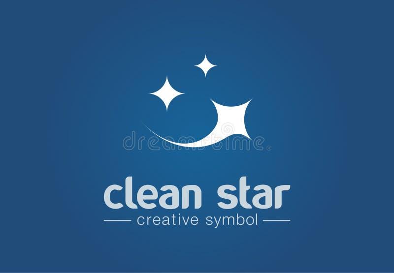 Fonkelingsster, het verse concept van het glimlach creatieve symbool Was, glans, wasserij, schoonmakend bedrijf abstract bedrijfs stock illustratie
