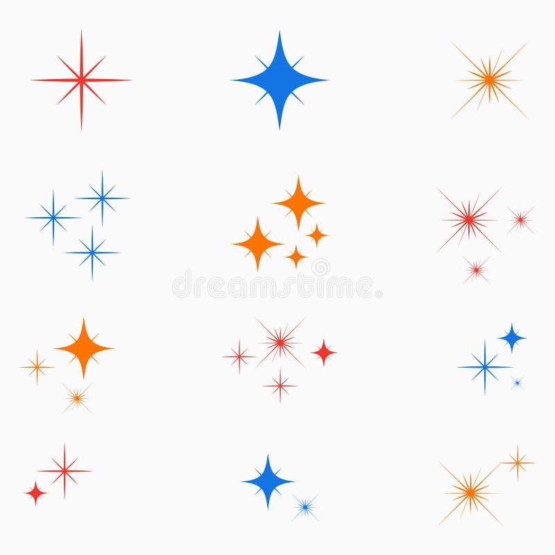 Fonkelingssterren Reeks van teken van het kleuren het gloeiende lichteffect Flitsen starburst pictogram Vector stock afbeelding