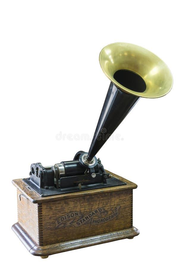 Fonograf Thomas Edison początek xx wiek na białym tle obraz royalty free