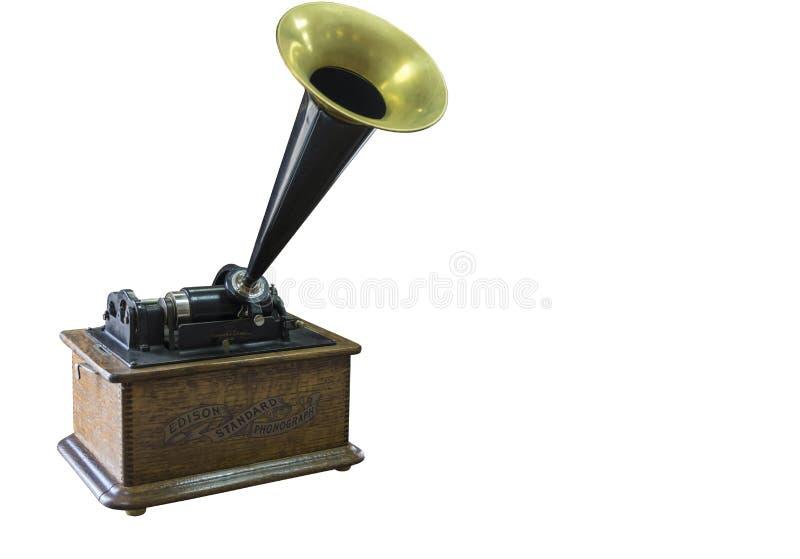 Fonograf Thomas Edison początek xx wiek na białym tle fotografia royalty free