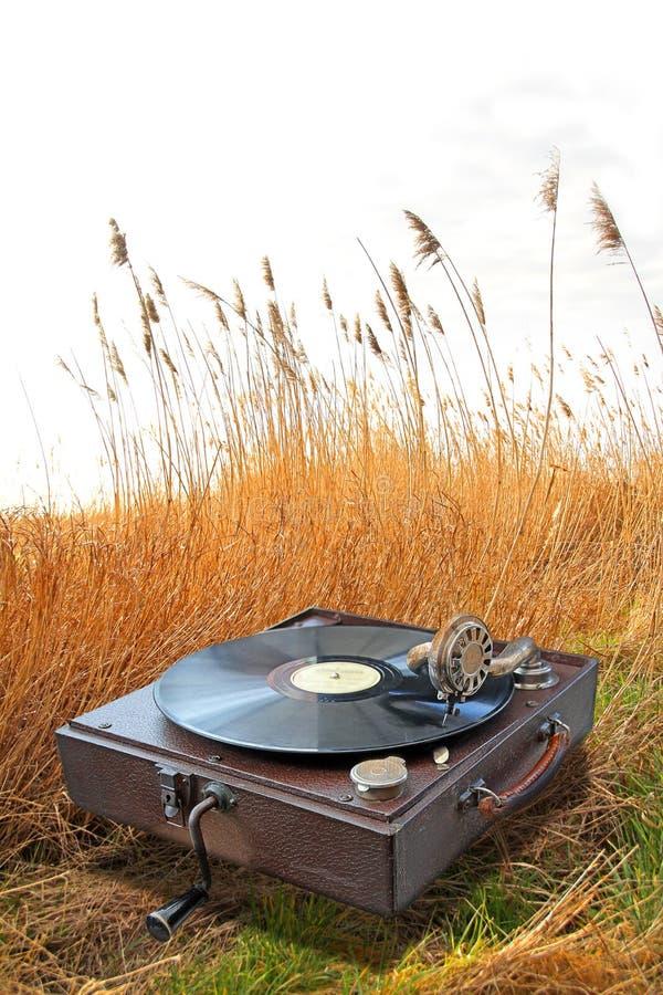 Fonograf w kraju kukurydzanym polu zdjęcia stock