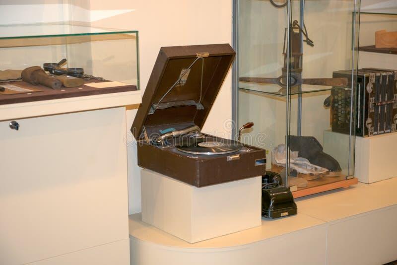 Fonograf w muzealnej ekspozycji obraz royalty free