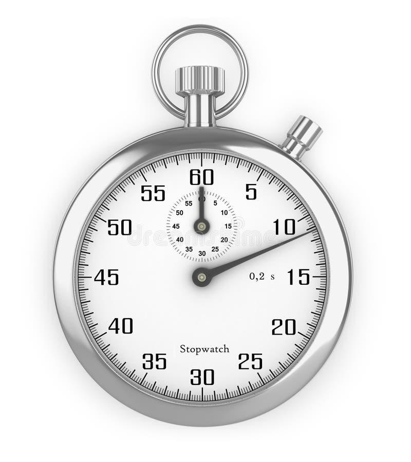 Fonom секундомера изолированное серебром белое иллюстрация вектора