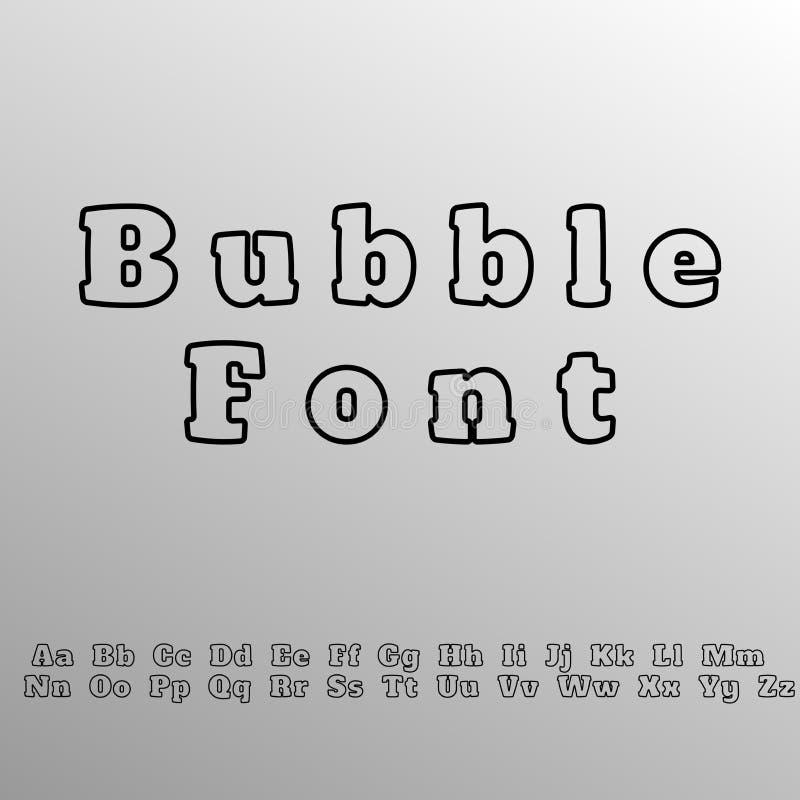 font χαρακτήρας script πηγή φυσαλίδων - σύγχρονη απλή πηγή χειρογράφων διανυσματική απεικόνιση