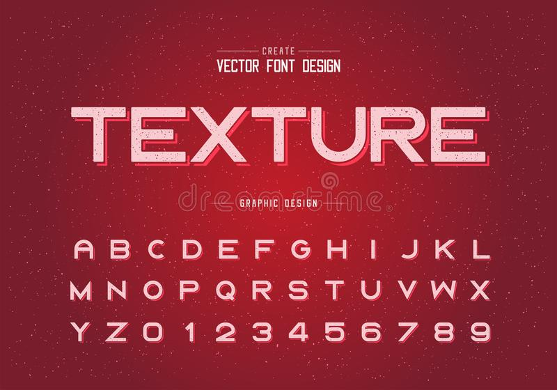 Texture Font and alphabet vector, Bold typeface letter and number design, Graphic text on grunge background. Font and alphabet vector, Bold typeface letter and royalty free illustration