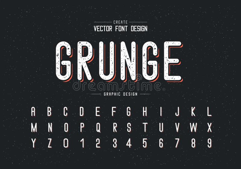 Texture Font and alphabet vector, Letter style typeface and number design, Graphic text on grunge background. Font and alphabet vector, Letter style typeface and stock illustration