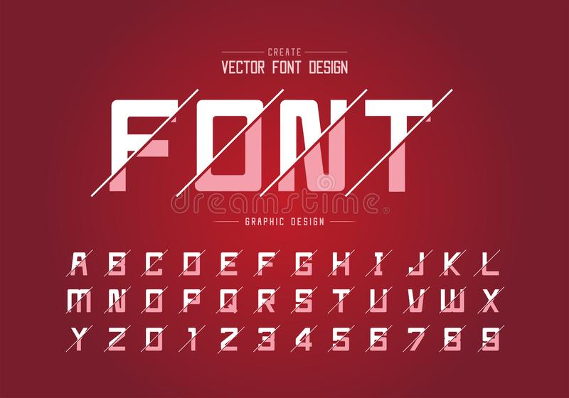 Font and alphabet vector, Square typeface letter and number design, Graphic text on background royalty free illustration