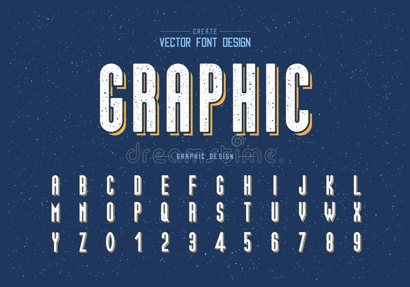 Texture Font and alphabet vector, Tall typeface letter and number design, Graphic text on grunge background. Font and alphabet vector, Tall typeface letter and vector illustration