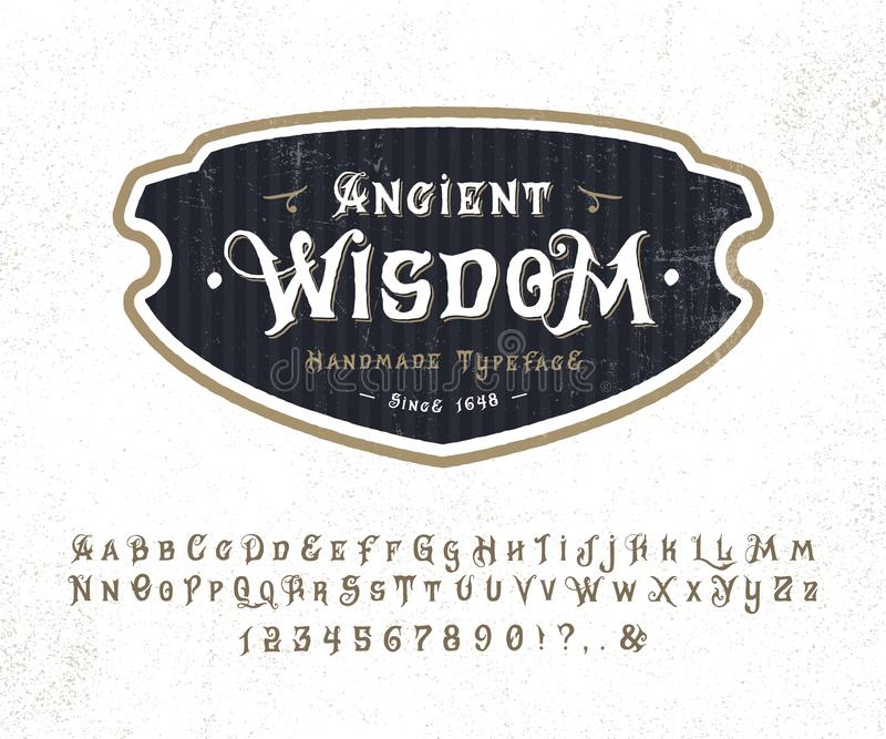 Font Ancient Wisdom. stock illustration