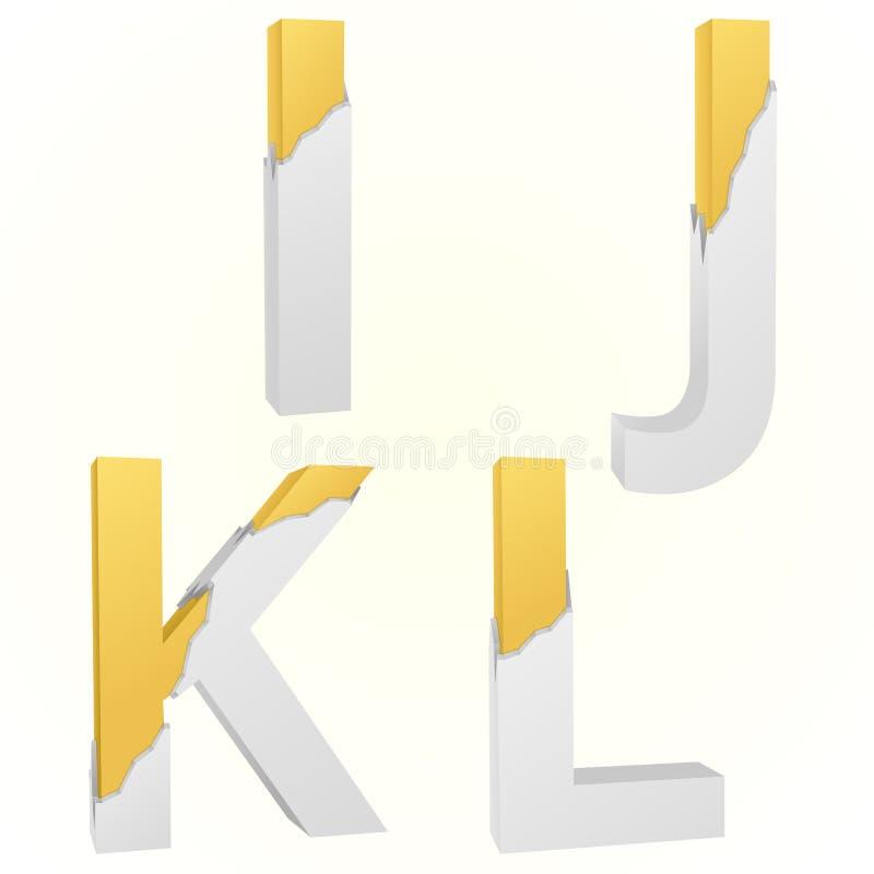 Font broken I to L vector illustration