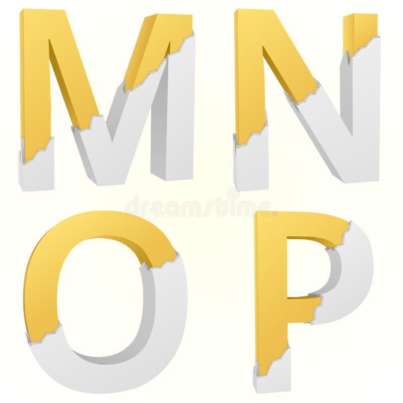 Font broken M to P vector illustration