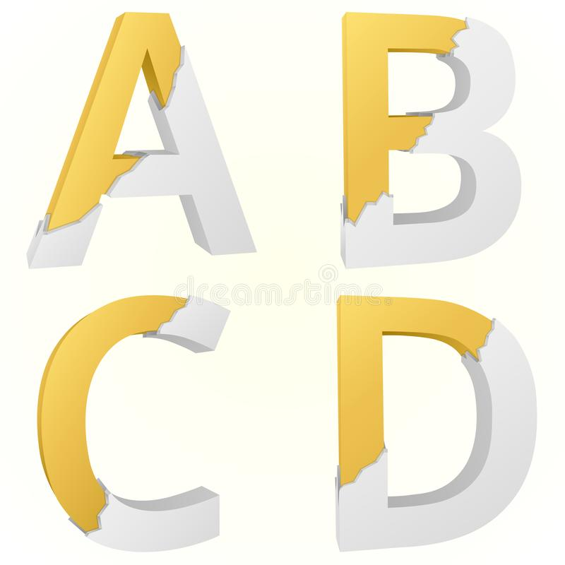 Font broken A to D. Letters A to D Capitalization color gold inside the white broken Letters royalty free illustration