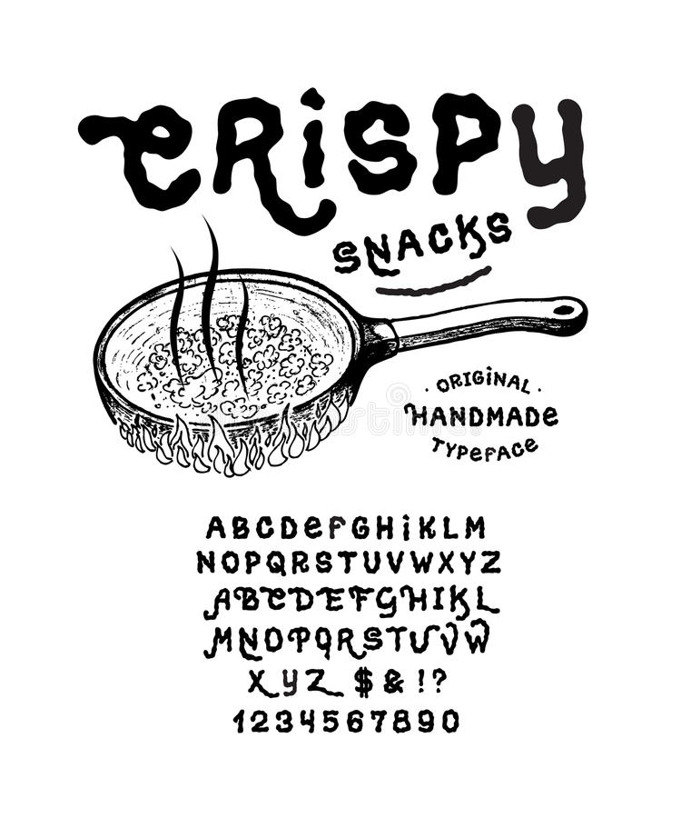 Font CRISPY SNACKS vector illustration