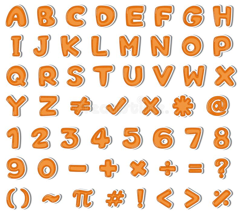 Font design for english alphabets and numbers in orange. Illustration royalty free illustration