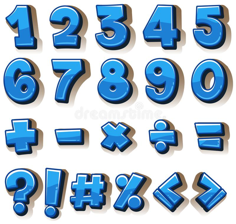 Font design for numbers and signs in blue. Illustration stock illustration