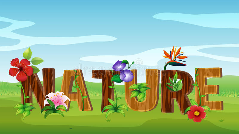 Font design for word nature with many flowers royalty free illustration