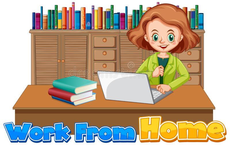 Font design for work from home with woman working on computer stock photo