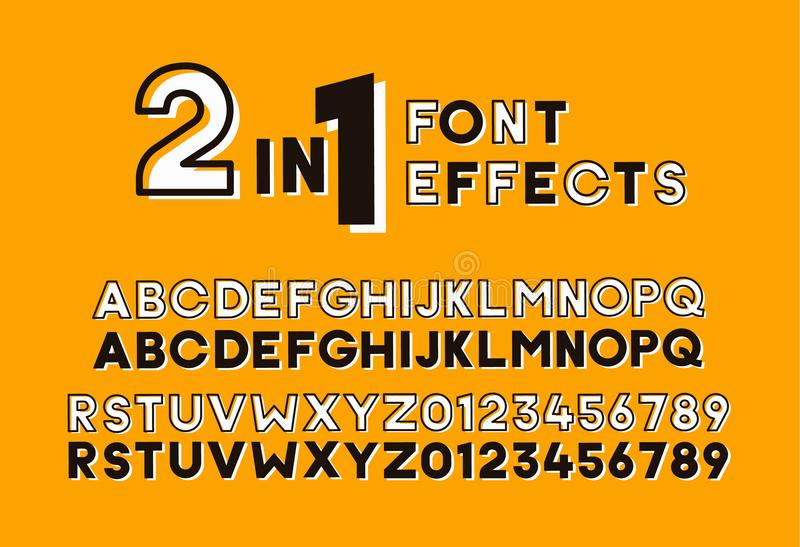 2 in 1 font effects. Set of two sans serif alphabet graphic styles. Outline and bold shadow. Vector design vintage retro style. 2 in 1 font effects. Set of two royalty free illustration