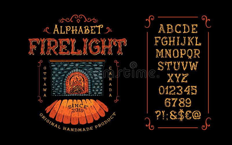 Font Firelight. Hand crafted. Retro vintage typeface design. Display handwritten graphic latin alphabet. Vector illustration old badge label logo tee template vector illustration