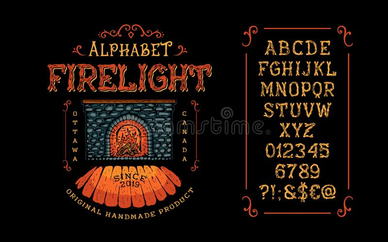 Font Firelight. Letter and number. Font Firelight. Hand crafted retro vintage typeface design. Display handwritten graphic latin alphabet. Vector illustration vector illustration