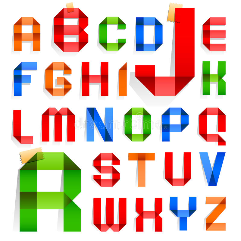 Download Font Folded From Colored Paper -  Alphabet Stock Vector - Image: 26911074