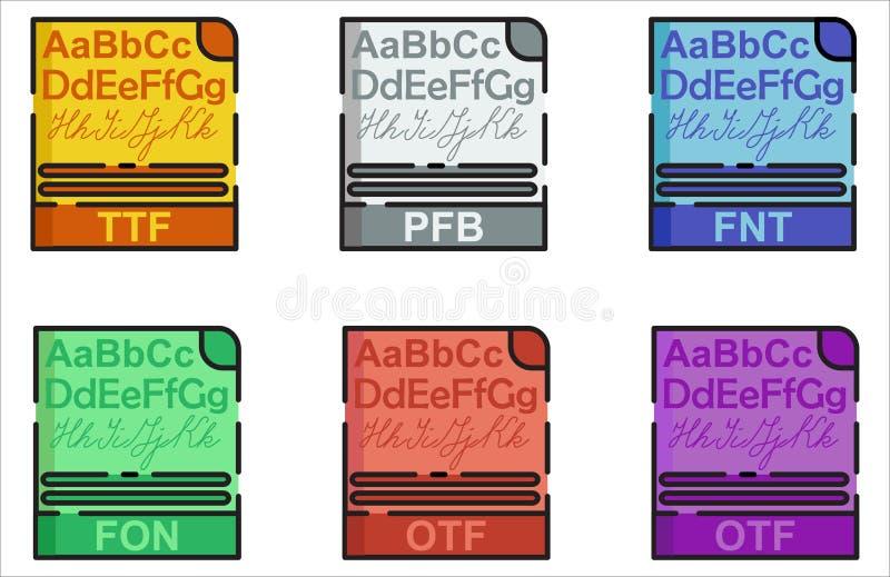 Font Format Icon Set Design Flat Outline Style vector illustration