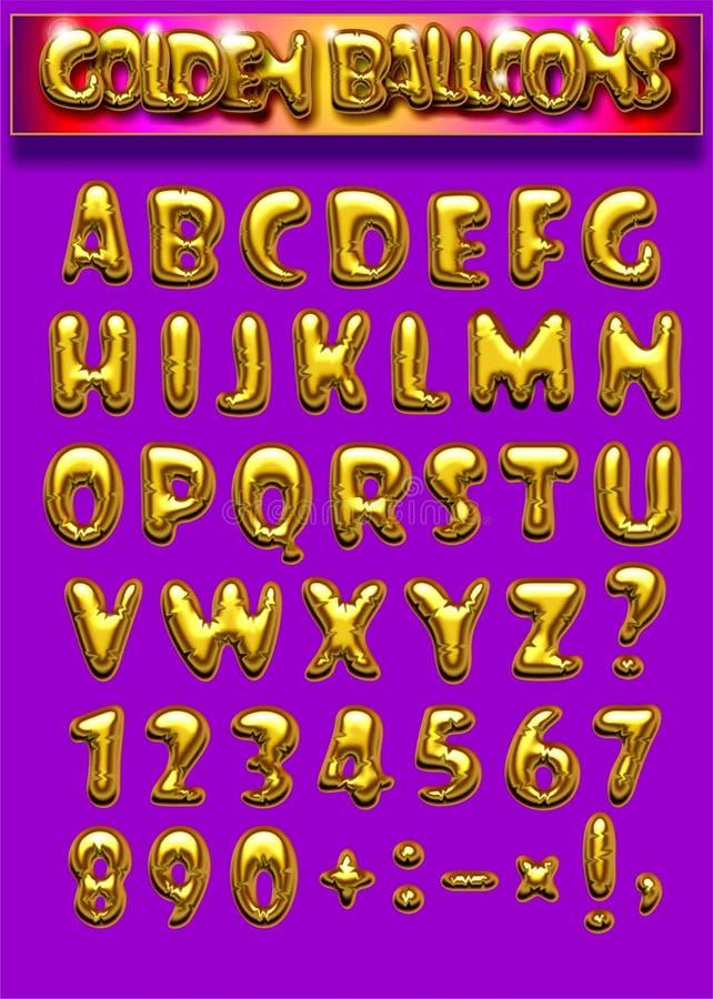 Font Golden balloons stock illustration