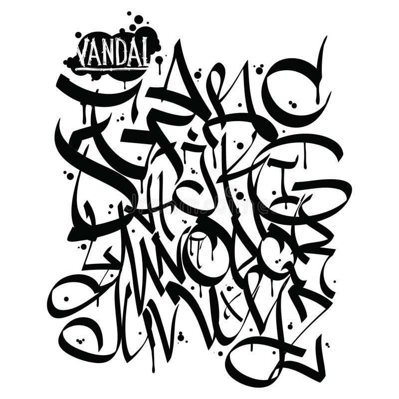 Font Graffiti Vandal And Cans Stock Vector - Illustration of icon