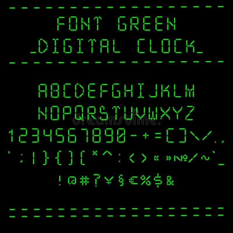 Font green digital clock vector illustration