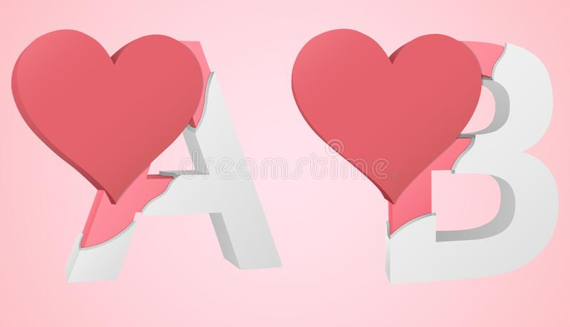 Font Heart A and B stock illustration