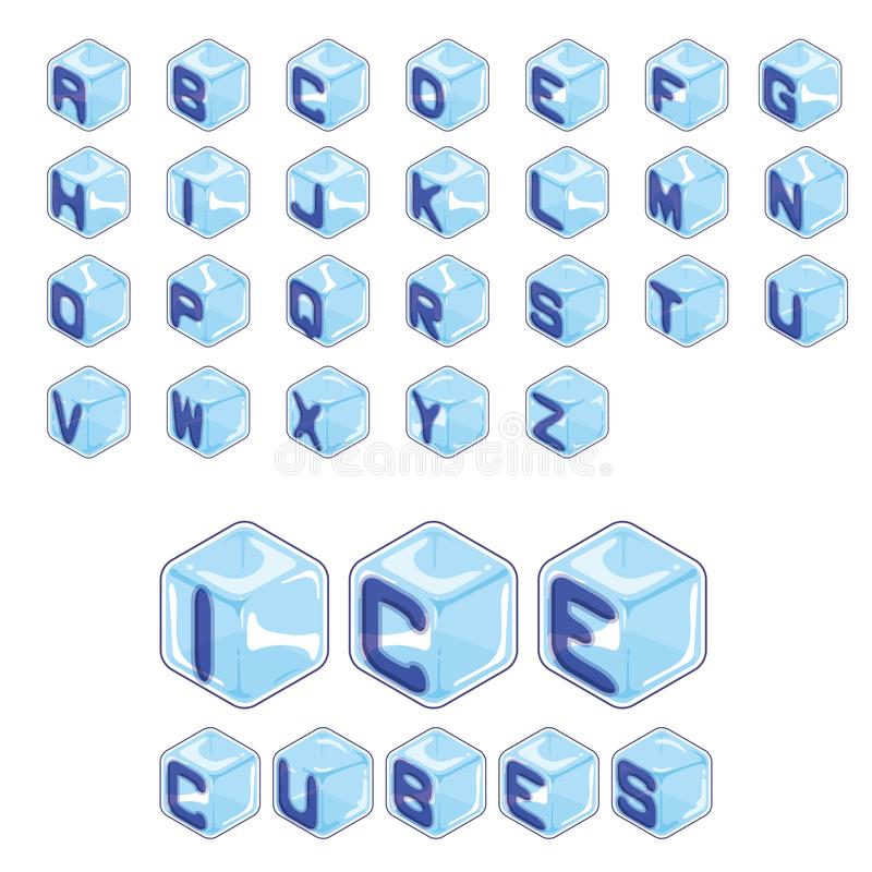 Font ice cubes style on white background vector illustration