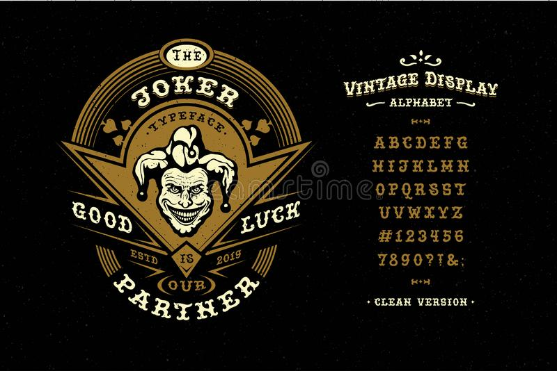 Font Joker. Hand crafted retro typeface. Design. Handmade lettering. Vintage display alphabet. Vector graphic illustration old badge label logo template stock illustration