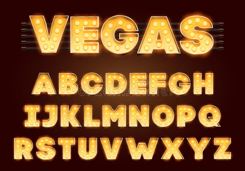 Font with lamps. Gold Light Bulb, Broadway style. Glowing sparkles Alphabet Set. Template Cartoon Vector illustration stock illustration
