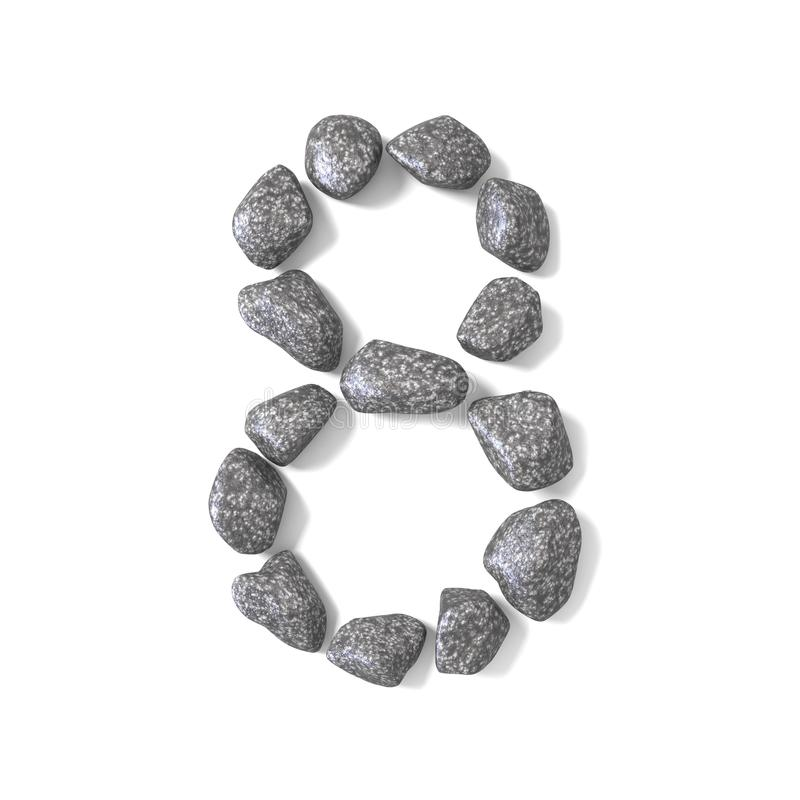 Font made of rocks NUMBER eight 8 3D. Render illustration isolated on white background vector illustration