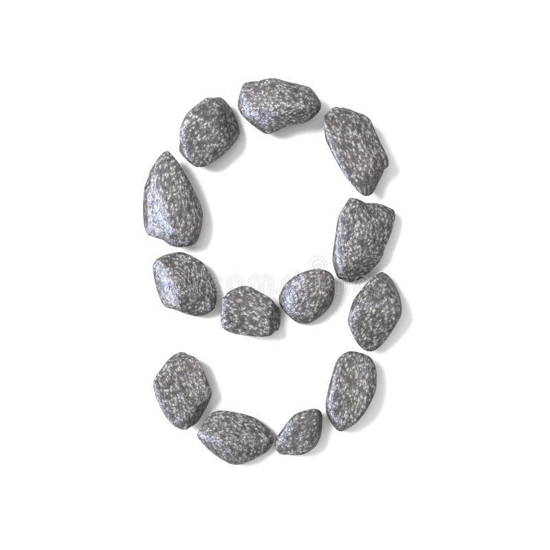 Font made of rocks NUMBER nine 9 3D. Render illustration isolated on white background vector illustration