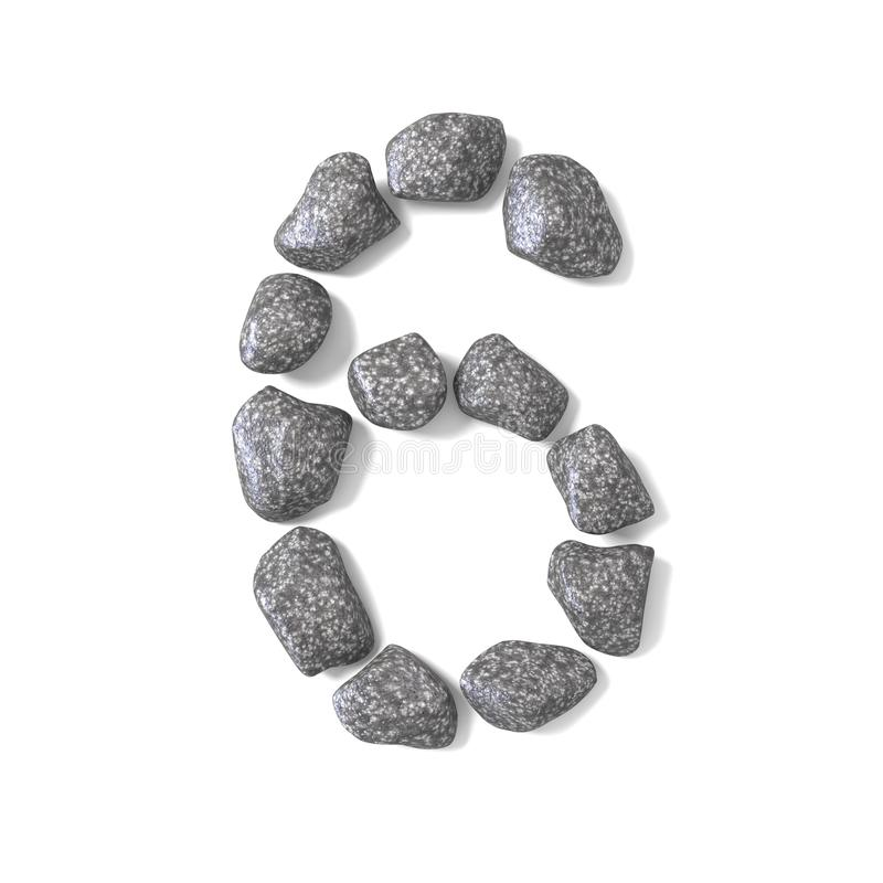 Font made of rocks NUMBER six 6 3D. Render illustration isolated on white background vector illustration