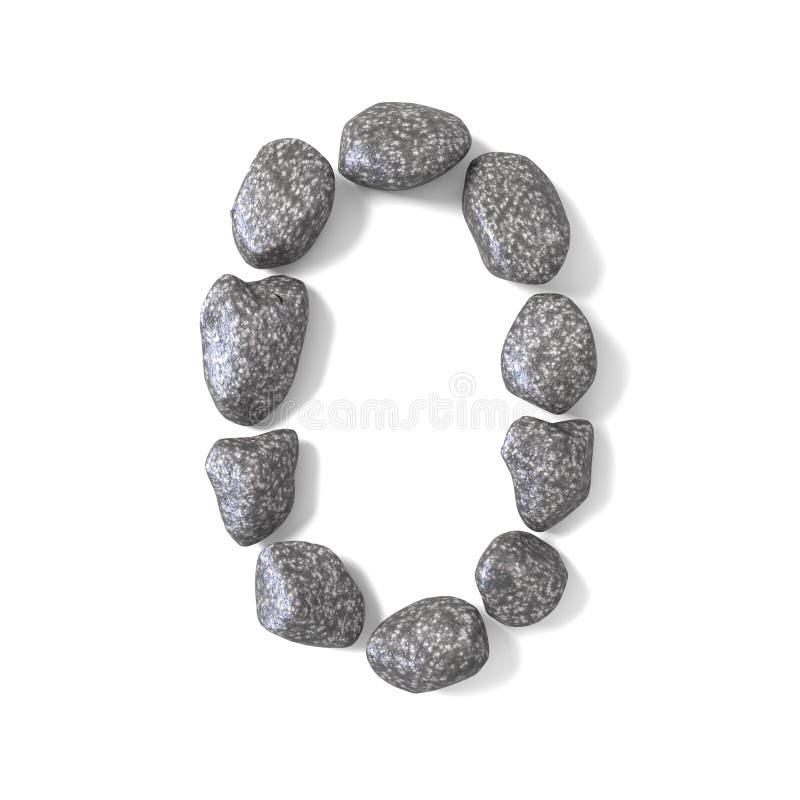 Font made of rocks NUMBER zero 0 3D. Render illustration isolated on white background royalty free illustration