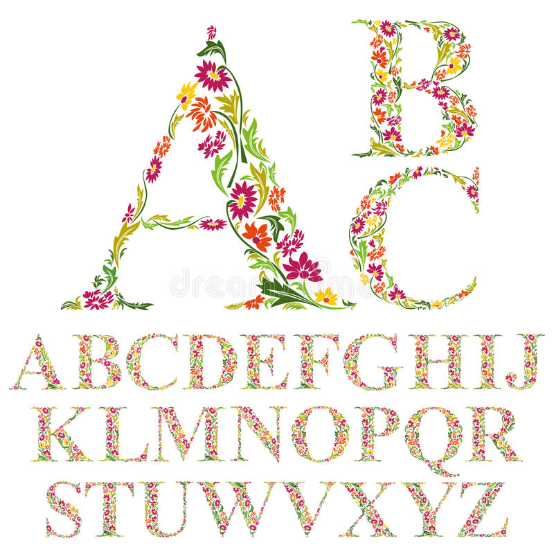 Free Font Made With Leaves, Floral Alphabet Letters Set Stock Photo - 49889050