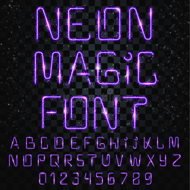 Font magic. Bright, shiny font. Electric letters, numbers, light effects stock illustration