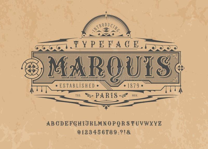Font Marquise Pop vintage cartas de arte, números ilustração do vetor